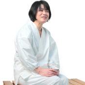 白紬織り女作務衣