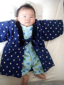Kさまbabyちゃん(2か月半) こどもはんてん 着用サイズ:90cm